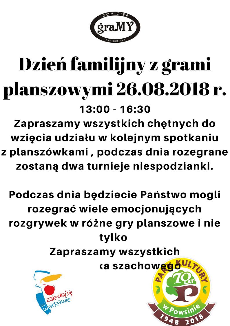 Dzień Familijny z grami planszowymi 26.08.2018 r.