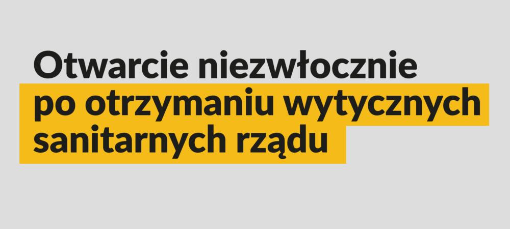 baner informujący o zamknieciu obiektów