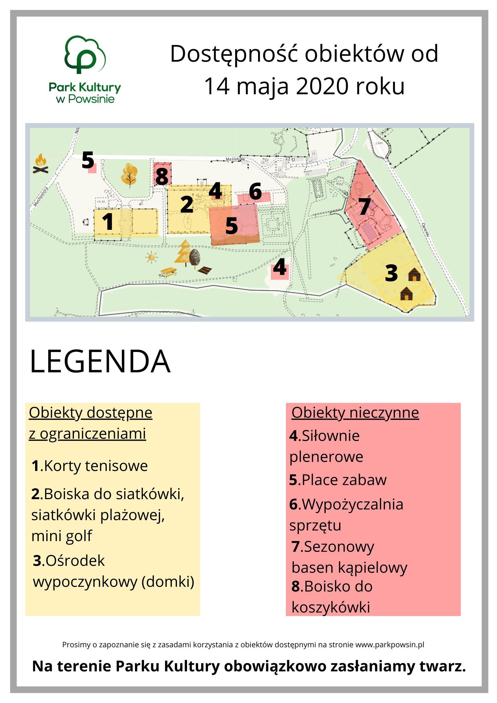 schemat ilustrujący dostępność obiektów sportowych na terenie Parku Kultury w Powsinie otwarte korty tenisowe, boiska do siatkówki plażowej, domki turystyczne oraz zamknięte siłownie plenerowe i plac zabaw