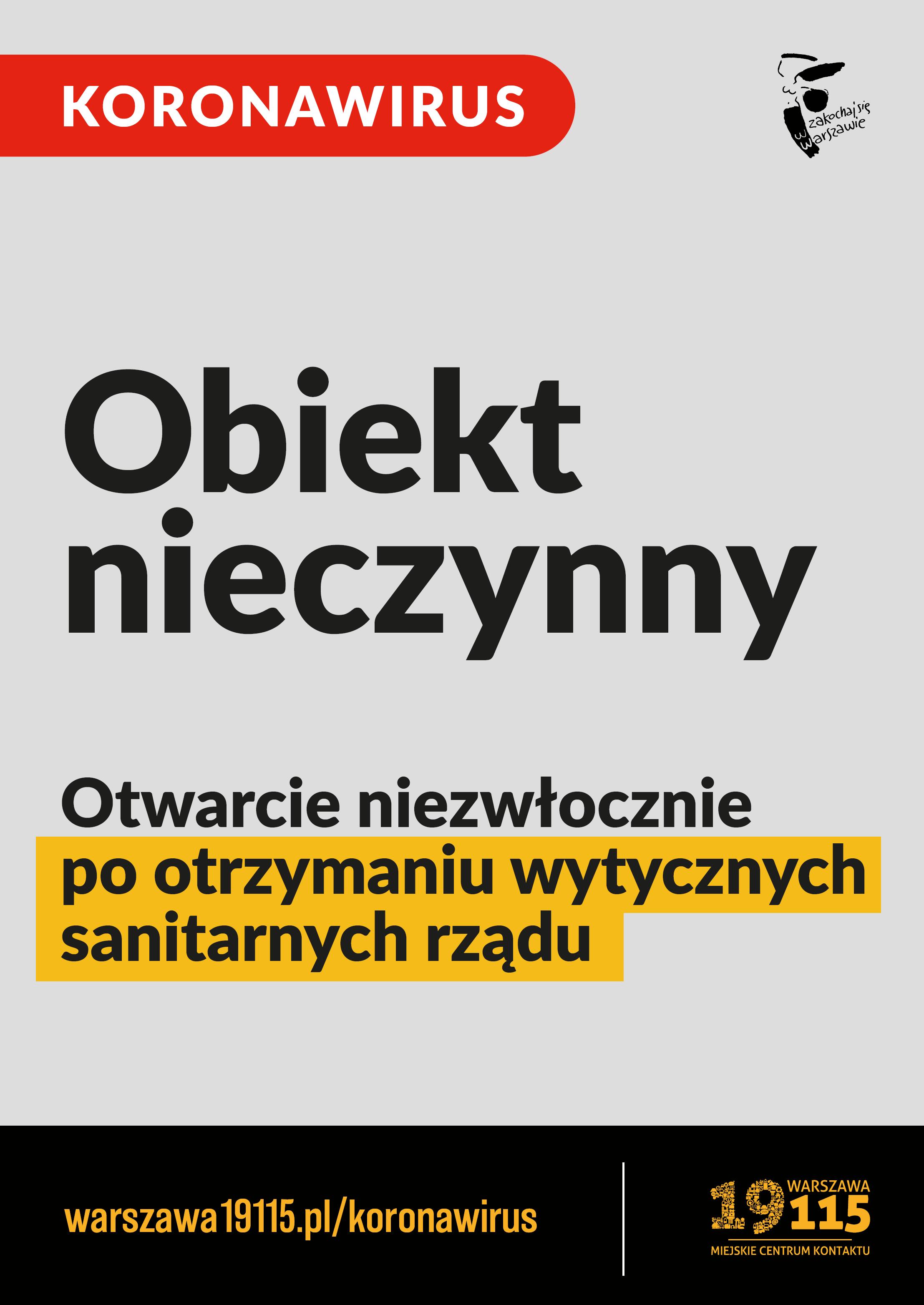 plakat informujący o zamknięciu obiektów sportowych