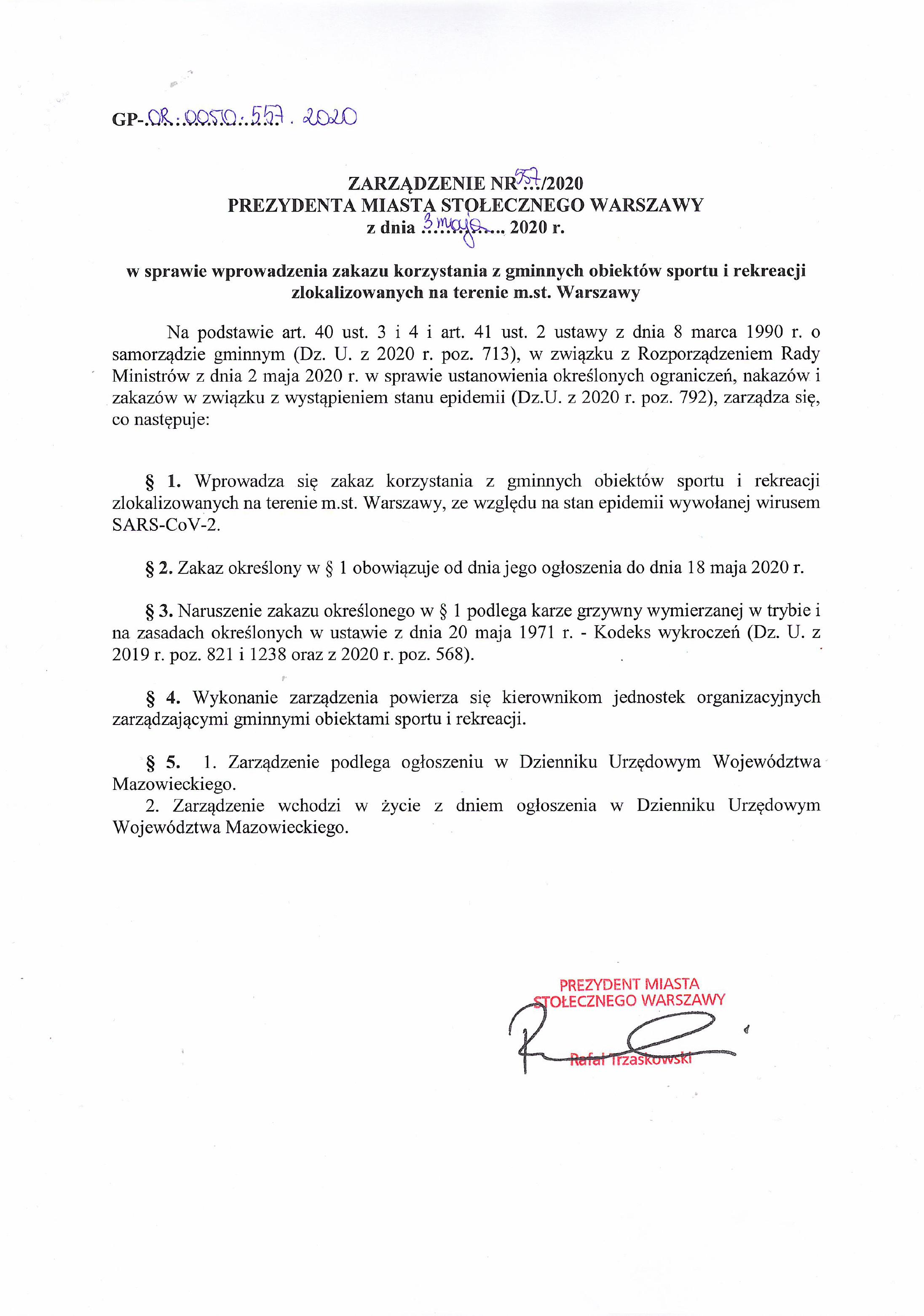 treść zarządzenia prezydneta m.st. warszawy informujące o zamknięciu obiektów sportowych do 18 maja 2020 roku
