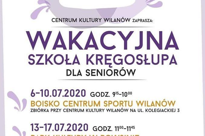 wakacyjna szkoła kręgosłupa plakat informujący o terminach, treść plakatu dostępna jest w treści wydarzenia