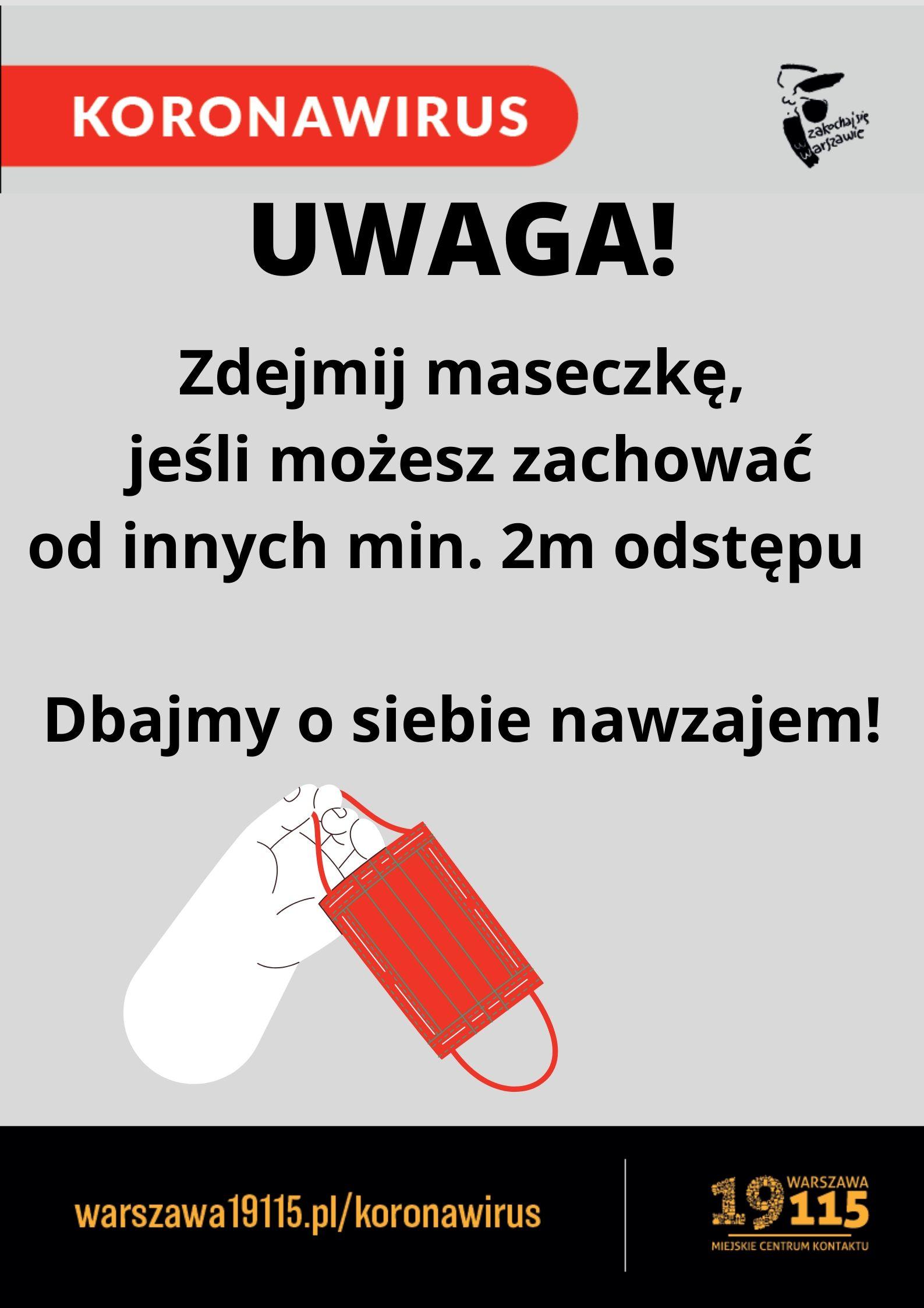 plakat informujący o konieczności zachowania minimum 2 metrów dystansu