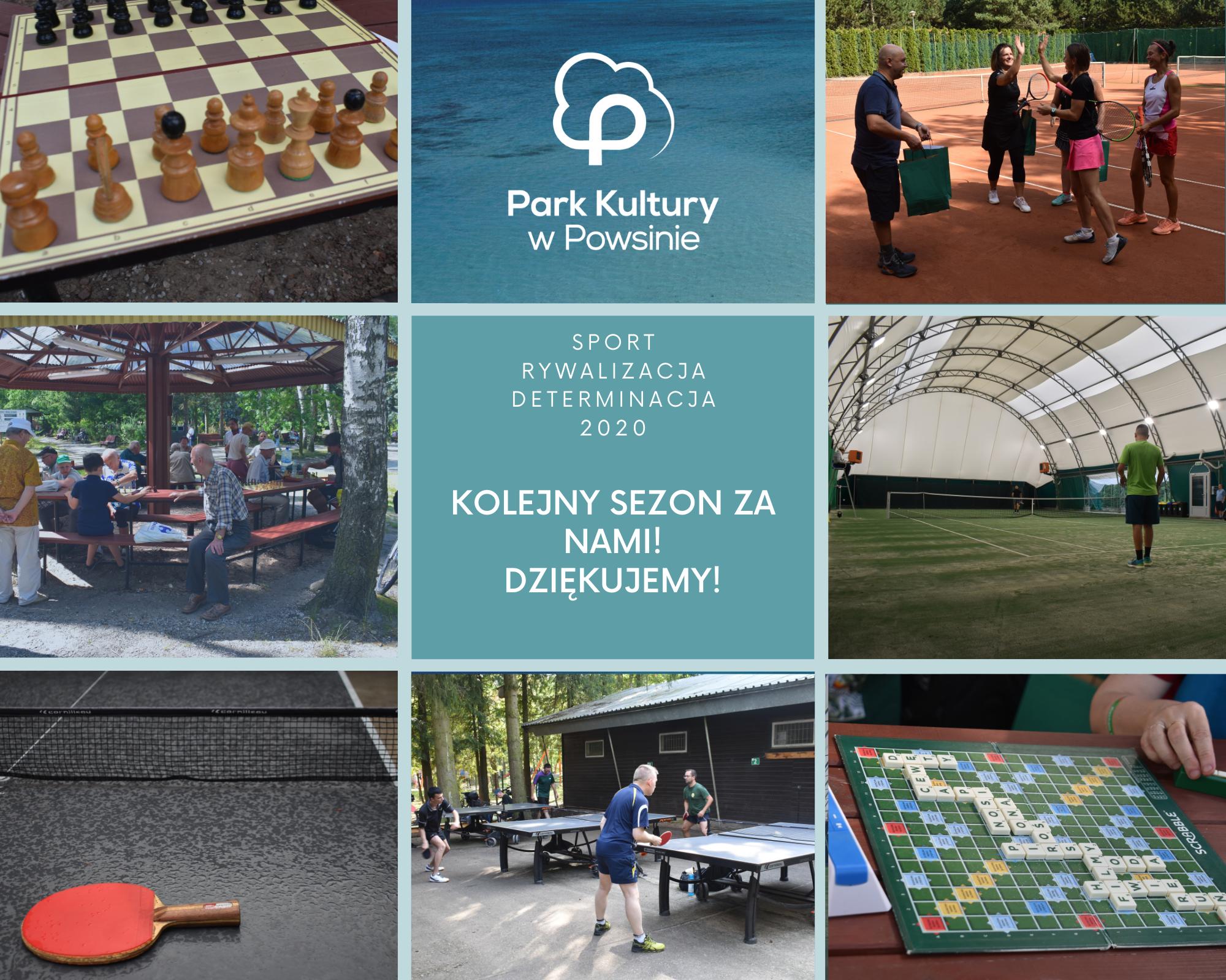 plakat podsumowujący sezon 2020 ze zdjeciami z wydarzeń sportowych które odbyły się w Parku Kultury w Powsinie.