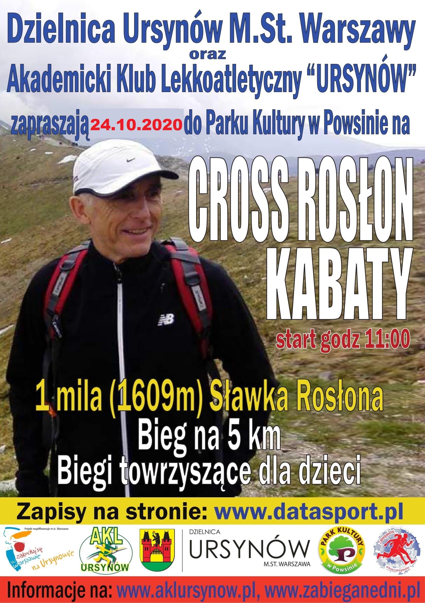 Plakat z informacjami dotyczącego wydarzenia. Bieg Cross Rosłon kabaty