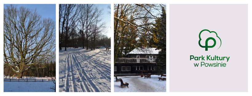 kolaż djęć pokazujący zimowe widoki z budynkiem głownym