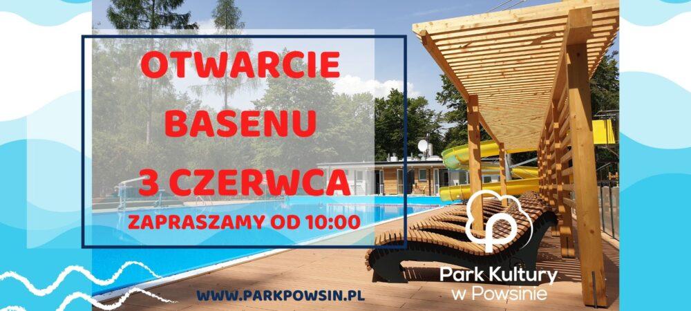 plakat informujący o otwarciu sezonowego basenu kąpielowego od 3 czerwca o godzinie 10