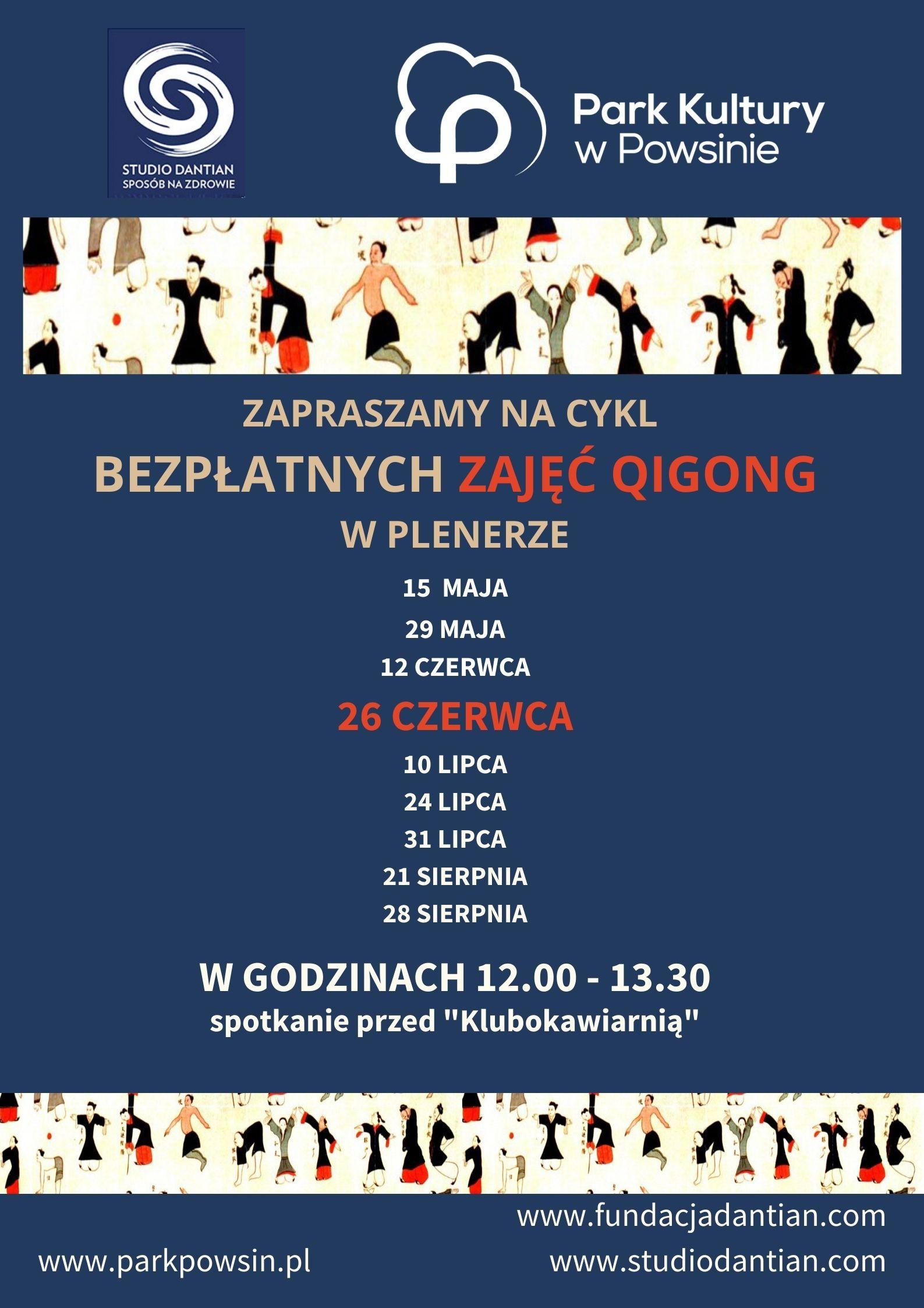 Plakat z terminami ćwiczeń qigong w parku kultury w Powsinie