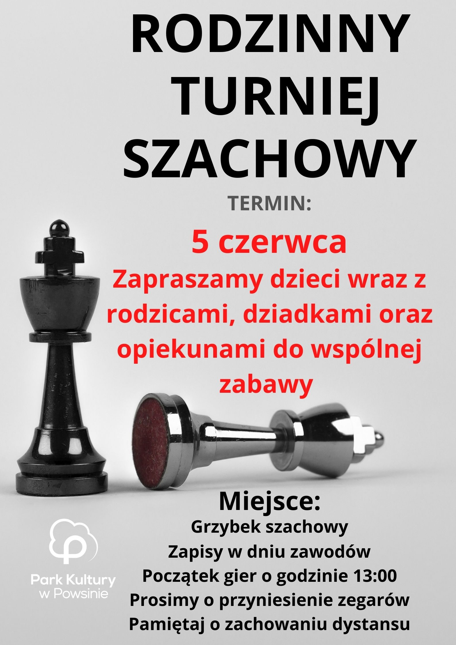 Plakat z informacja o rodzinnym turnieju szachowym w dniu 5 czerwca 2021