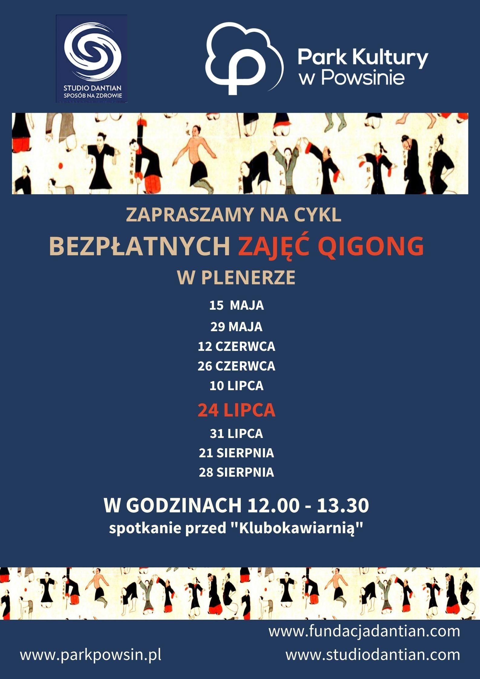 Plakat z terminami ćwiczeń Qigong 24 lipca