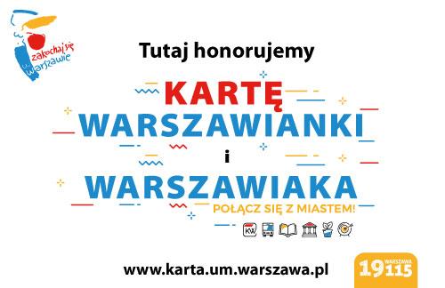 baner informujący o honorowaniu karty warszawianki i warszawiaka