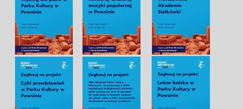 sześć plakatów z opisem projektów z budżetu obywatelskiego