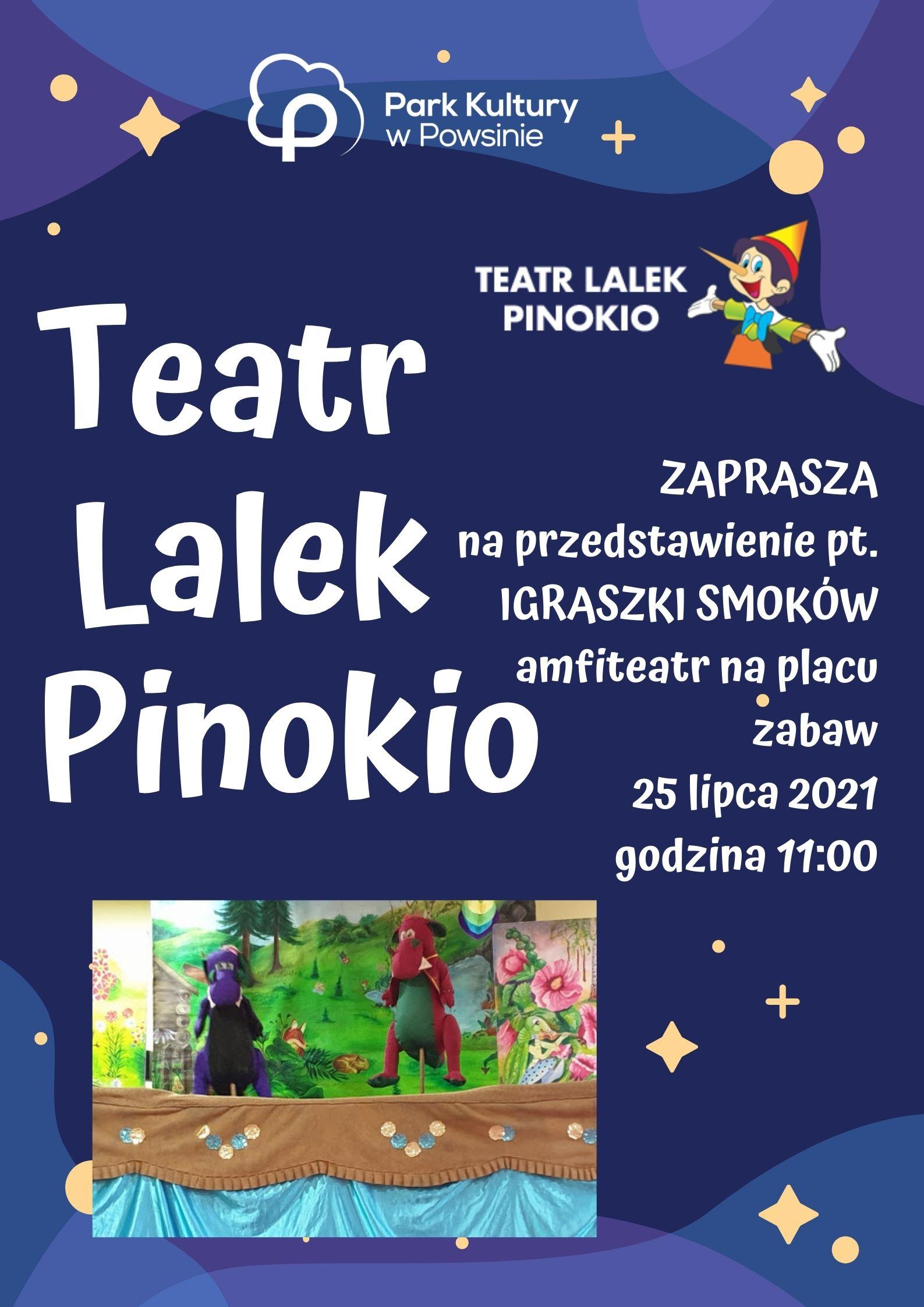 Plakat z informacją o wystepie teatru Lalek Pinokio