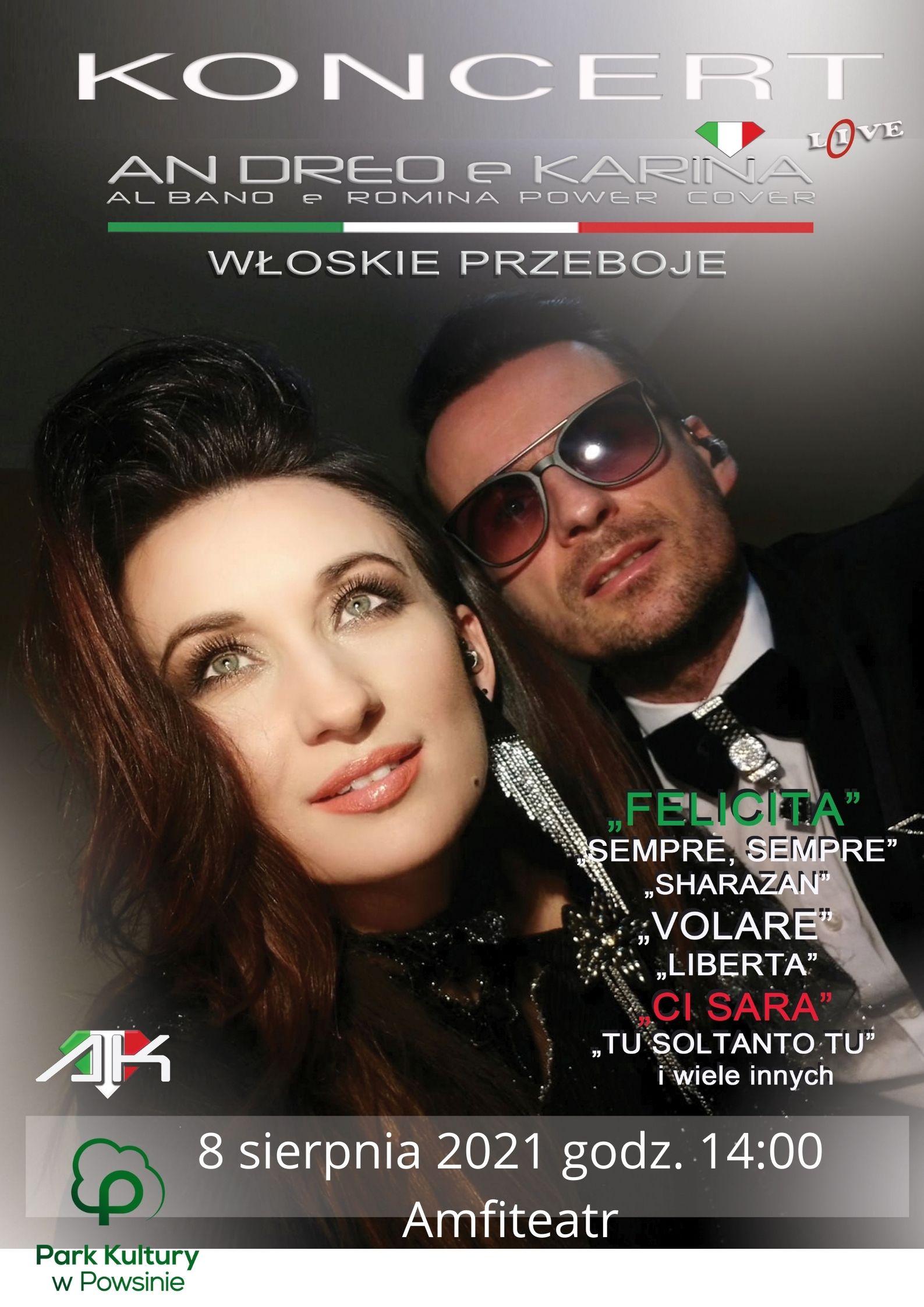 plakat informujący o koncercie andreo e karina 8 sierpnia o godzinie 14:00 w Amfiteatrze