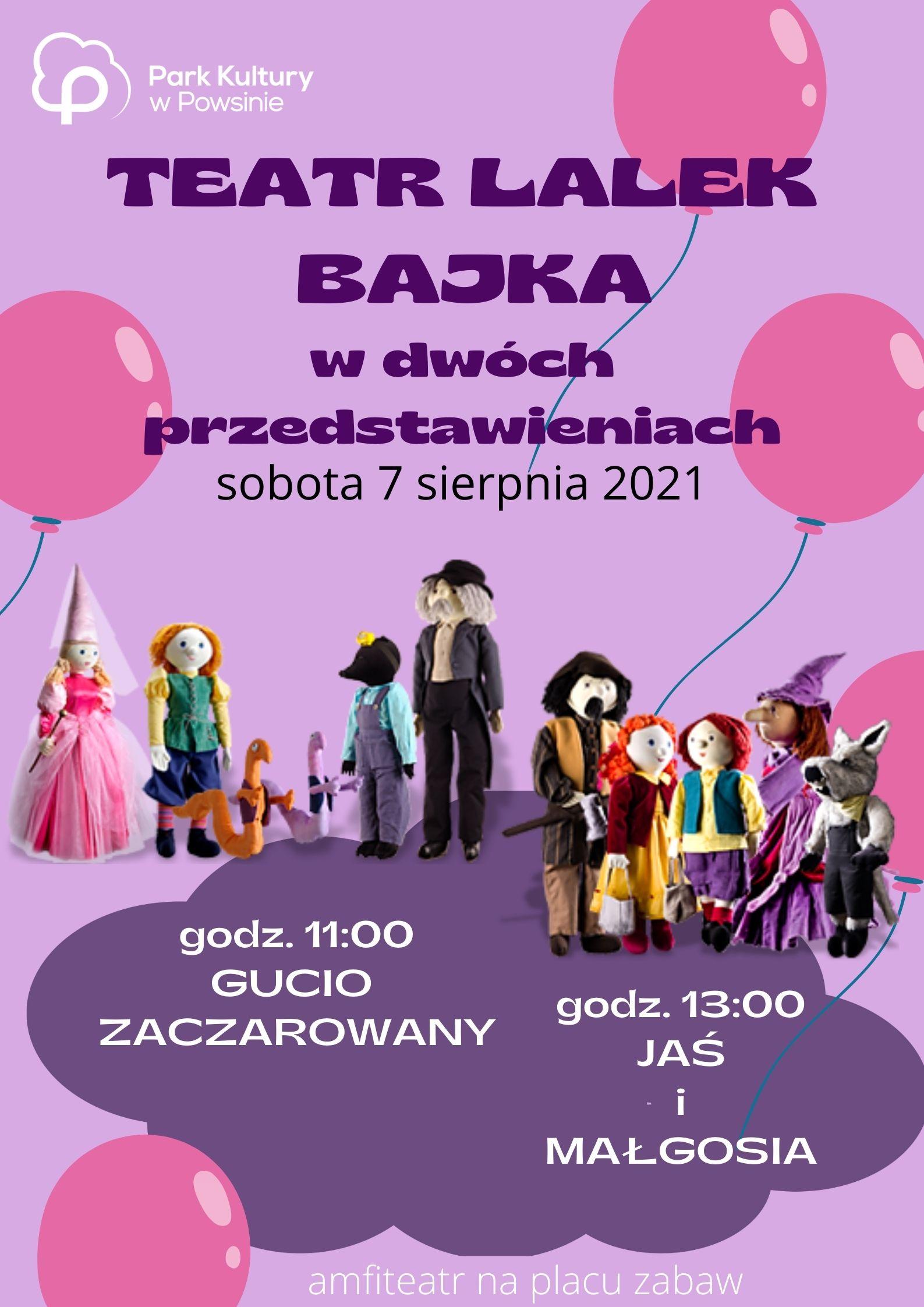 plakat z informacja o spektaklu teatru lalek bajka pod tytulem gucio zaczarowany i jas i małgosia