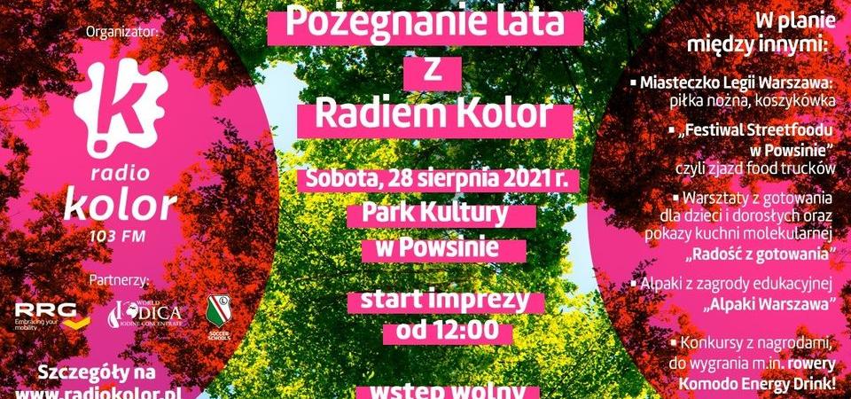 baner pożegnanie lata z radiem kolor w Parku Kultury w Powsinie 28 sierpnia