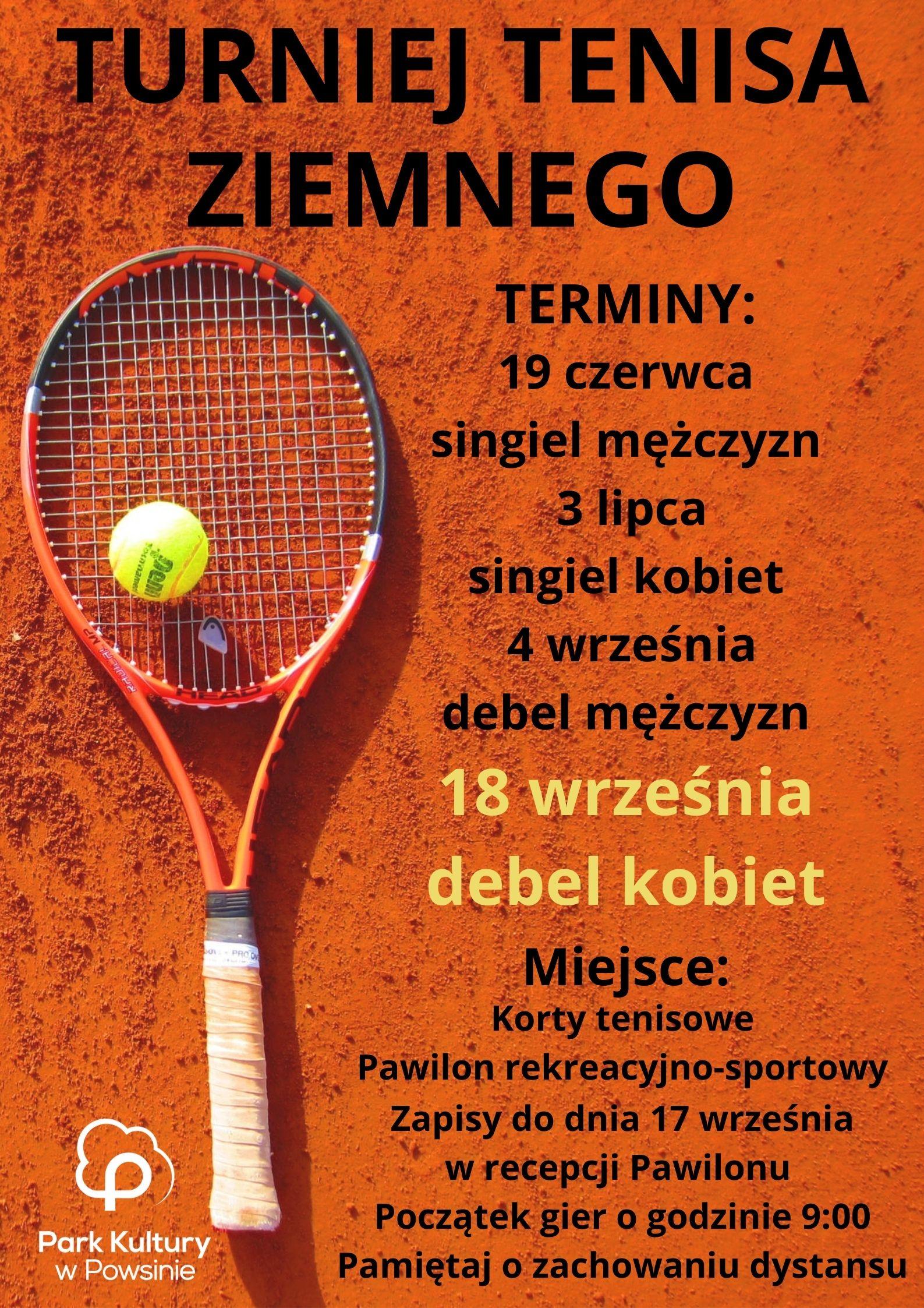 plakat z informacją o turnieju tenisa ziemnego debel kobiet w dniu 18 września o godzinie 9:00