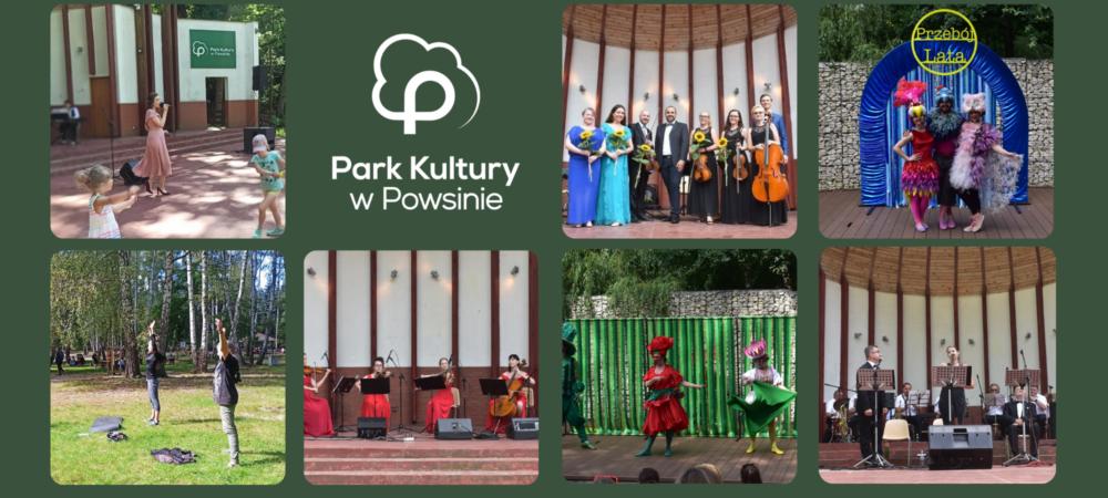 plakat ze zdjęciami z wydarzeń kulturalno-rekreacyjnychbw Parku Kultury w Powsinie