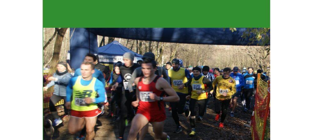 plakat z informacją o biegach Cross Rosłon Kabaty